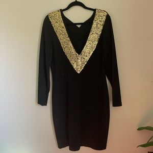 Vintage Outlander long sleeve sequined vneck dress